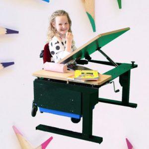 young girl creating art at desk